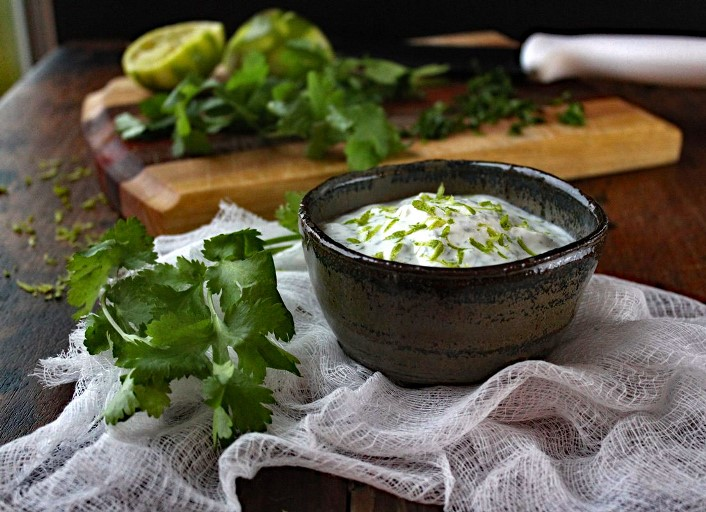 Cilantro Lime Crema – Creamy and tangy, and made with Greek yogurt to make it healthier, it's a perfect complement to spicy foods or used as a dip for tortilla chips.
