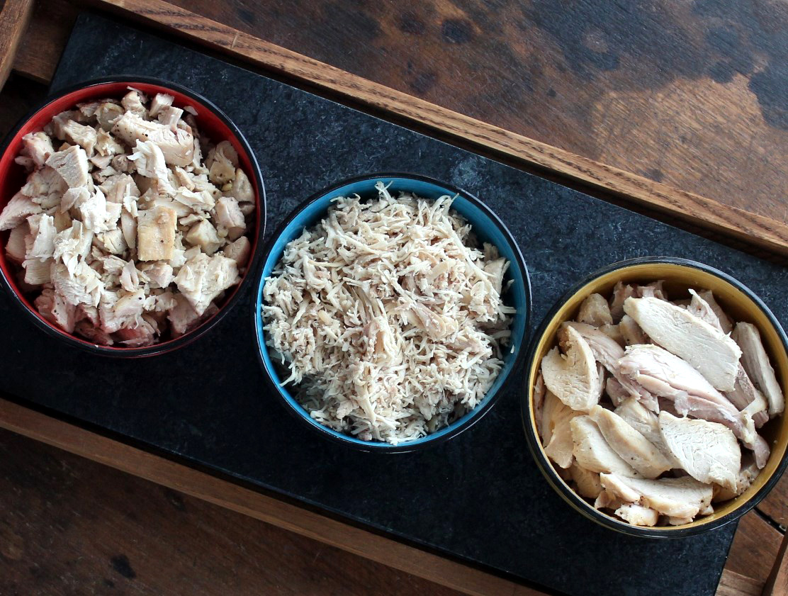Easy Meal Prep Tip: How to Batch Cook Chicken - Six easy steps to make diced, shredded, or sliced cooked chicken all at once.