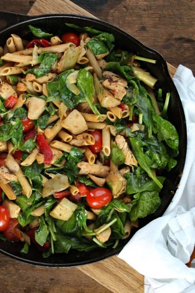Herbed Chicken and Pasta Skillet with Blistered Tomatoes, Artichokes, and Spinach