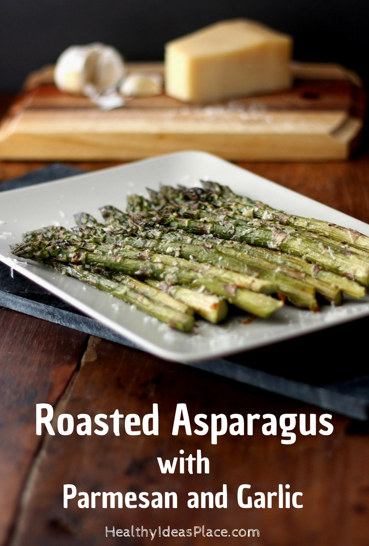 Roasted Asparagus with Parmesan and Garlic – fresh asparagus is simply roasted until tender and seasoned with parmesan and garlic. Quick and easy to make recipe! Delicious!