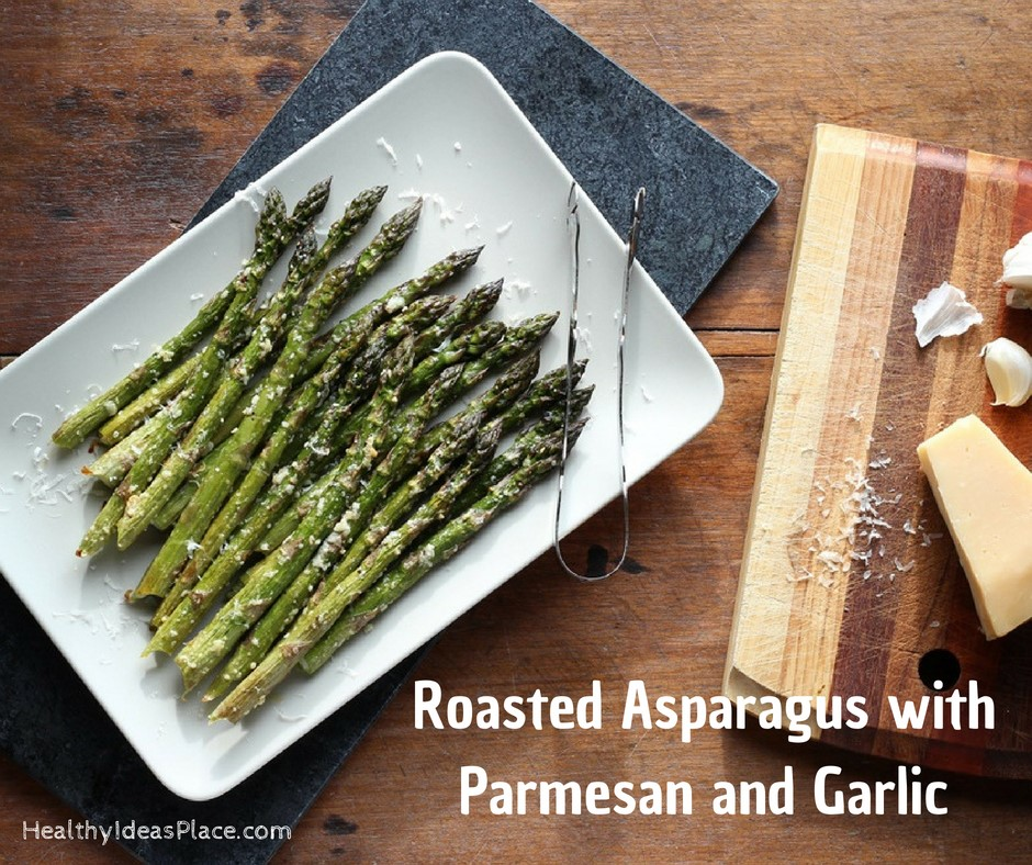 Roasted Asparagus with Parmesan and Garlic – fresh asparagus roasted until tender and seasoned with parmesan and garlic. Simple and easy recipe! Delicious!