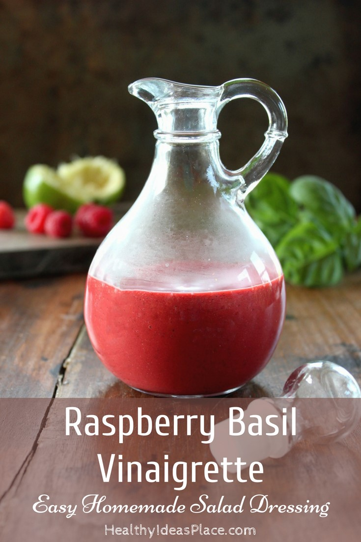 Raspberry Basil Vinaigrette - Simple to make raspberry vinaigrette with fresh basil and lime juice. Sweet and tangy all at the same time. Use it as a salad dressing or marinade too! Delicious!