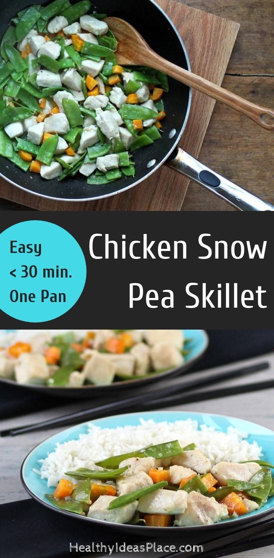Chicken Snow Pea Skillet - Quick, easy, delicious garlicky stir fry with chicken and snow peas! #chicken #stirfry #snowpeas #healthyrecipes #ad