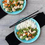 Chicken and Snow Peas in blue bowl with rice