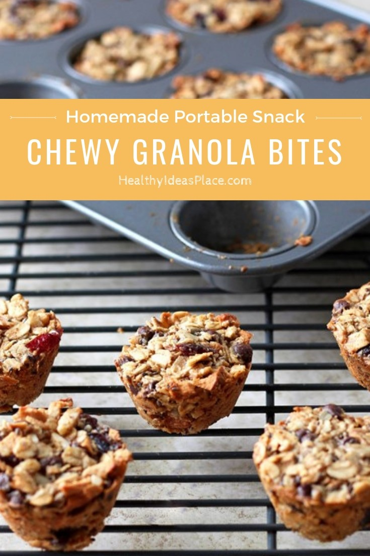 Delicious Chewy Granola Bites make a nourishing grab-and-go snack in the afternoon or a quick, healthy breakfast if you need something as you're going out the door in the morning. #snacks #granola #healthysnacks #recipes