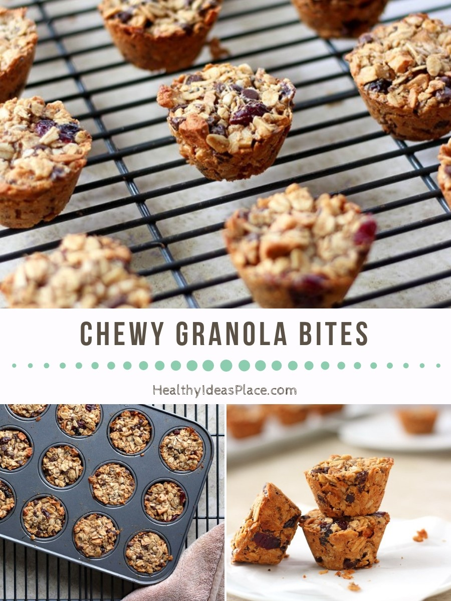 Delicious Chewy Granola Bites with Peanut Butter and Apples make a nourishing grab-and-go snack in the afternoon or a quick, healthy breakfast if you need something as you're going out the door in the morning. #snacks #granola #healthysnacks #recipes