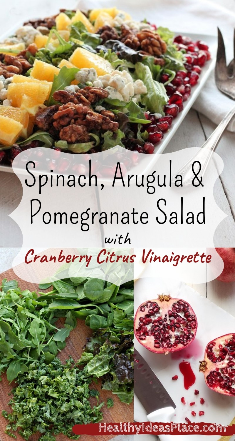 This Spinach, Arugula and Pomegranate Salad makes a wonderful side dish with a meal or a tasty lunch all by itself. Nutritionally, it's a gem, with plenty of fiber, vitamins, antioxidants and healthy fats. Delicious!