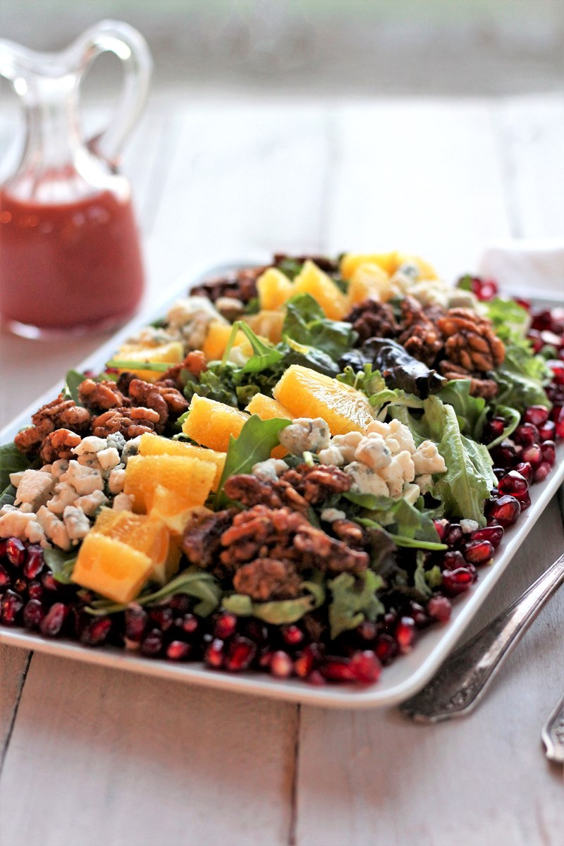 Spinach, Arugula and Pomegranate Salad with Cranberry Citrus Vinaigrette. Here's a dish that's sweet and tart, and creamy and crunchy all at the same time. And it all works together to make a salad that's a treat for the taste buds.