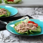 Two blue plates with Tuna Salad Lettuce Wraps