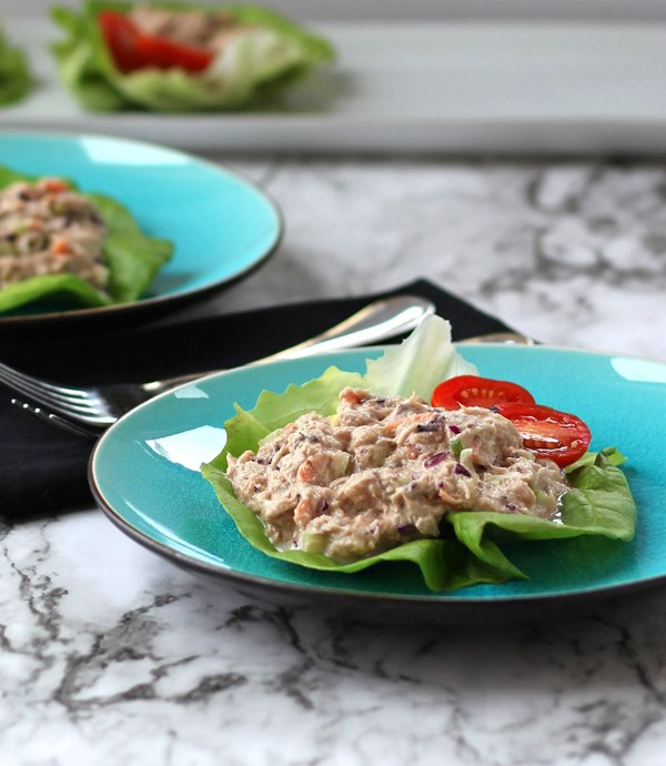 Tuna Salad Lettuce Wraps made with Greek yogurt and added veggies make a delicious, heart healthy meal for lunch or dinner.