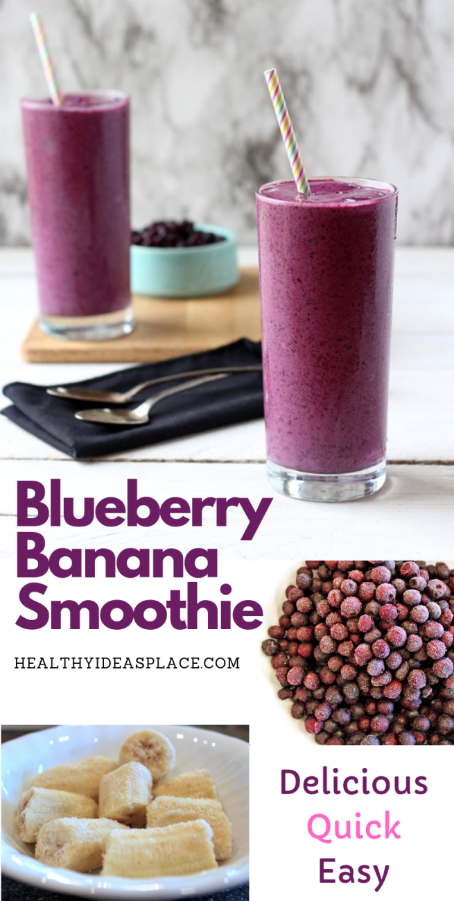 Blueberry banana smoothie picture with bananas and blueberries