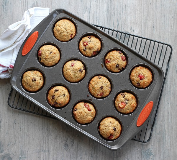Sour cherry muffins with dark chocolate chips baked in pan