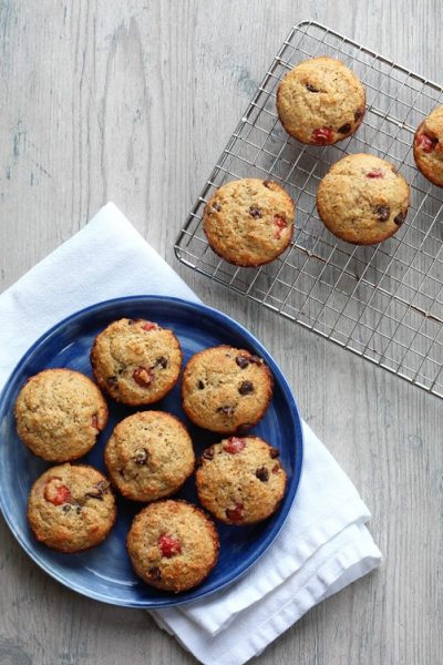 Sour Cherry Muffins with Dark Chocolate Chips