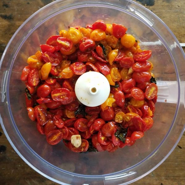 Roasted grape tomatoes in food processor