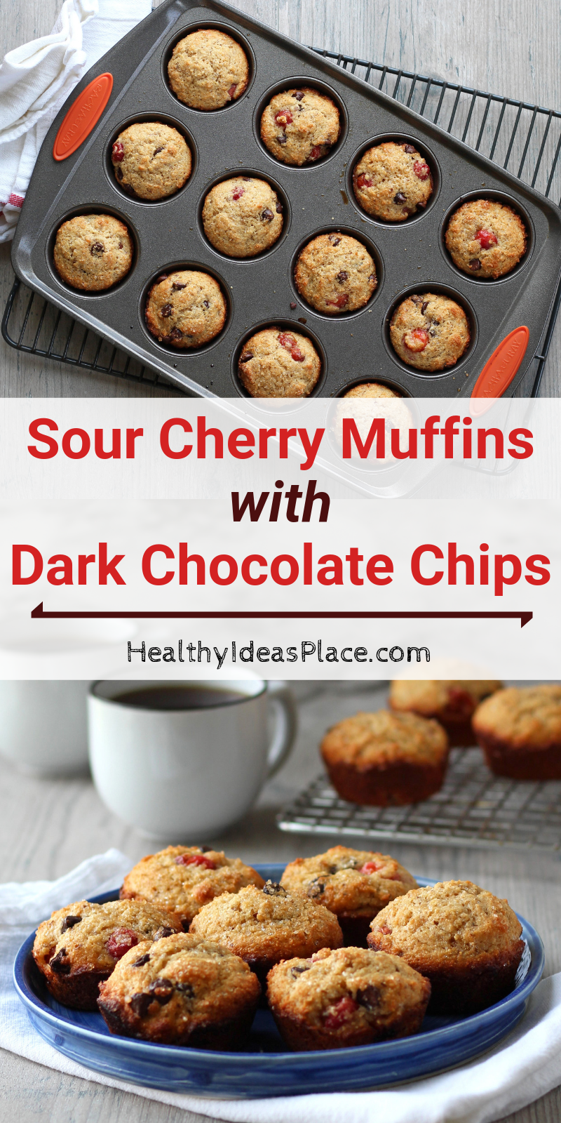 Collage picture of sour cherry muffins with dark chocolate chips