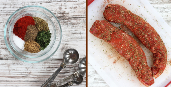collage of seasonings and raw pork