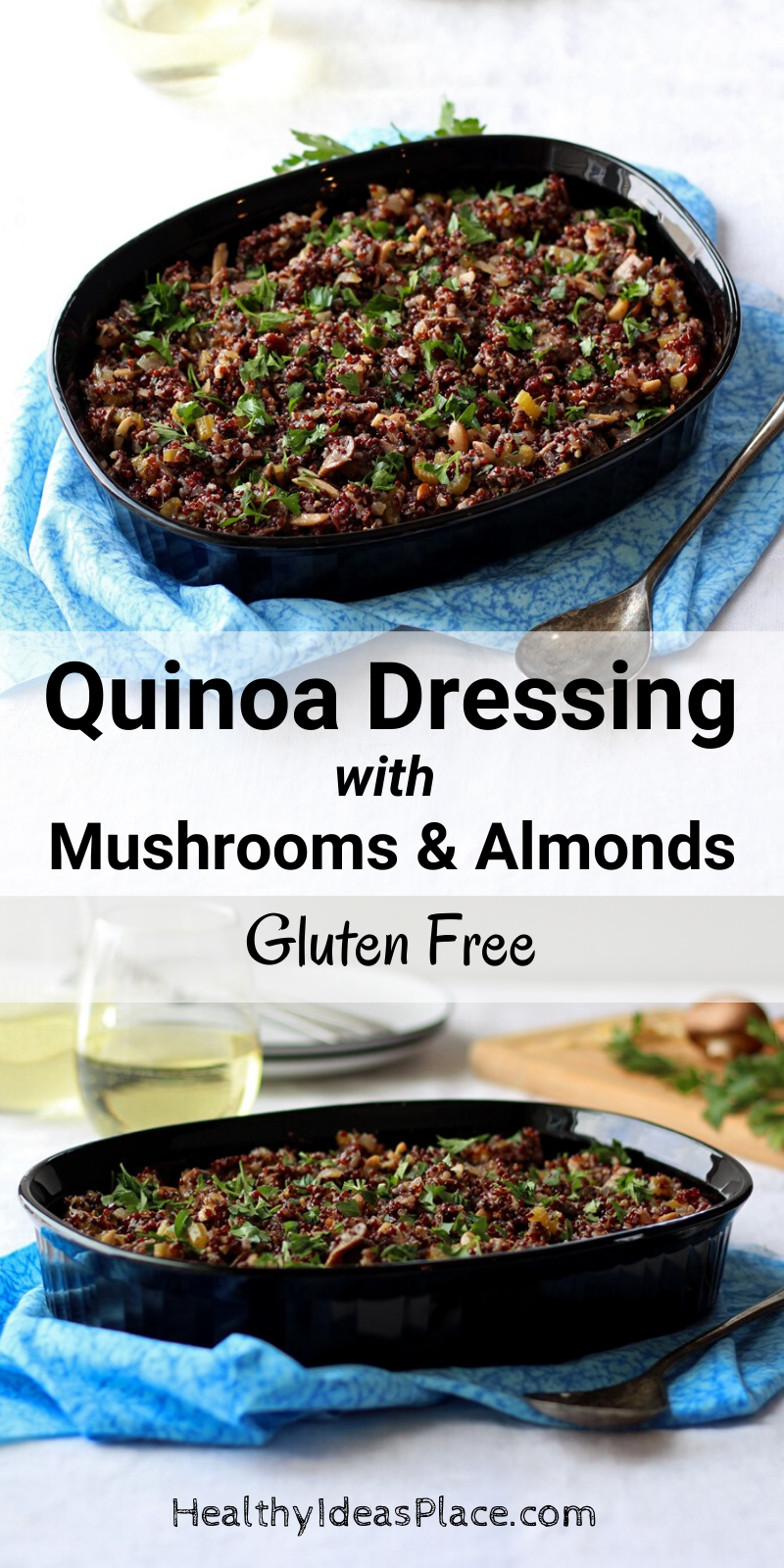 two photos of gluten free dressing in black dish on blue cloth
