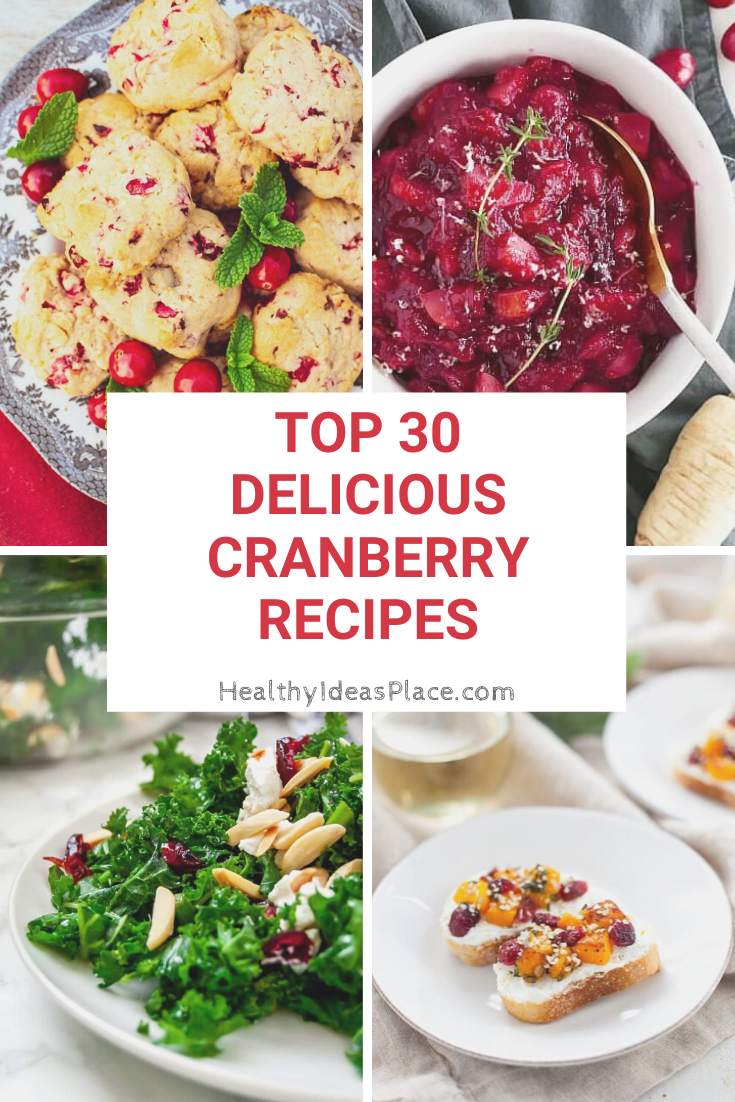 collage of 4 different cranberry recipes
