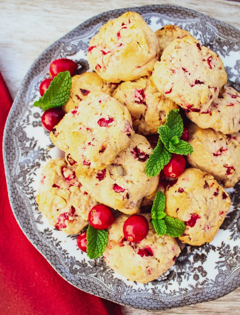 cranberry shortbread cookies on silver plate