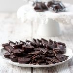 homemade dark chocolate candies on a white plate with a white background