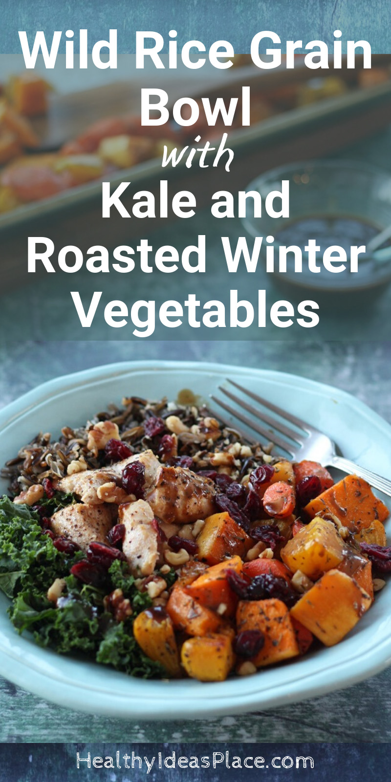 rice, chicken, kale, and roasted beets and squash in teal bowl