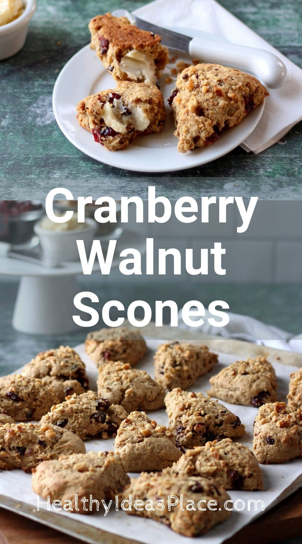 Collage image of scones on a white plate and scones on a baking sheet