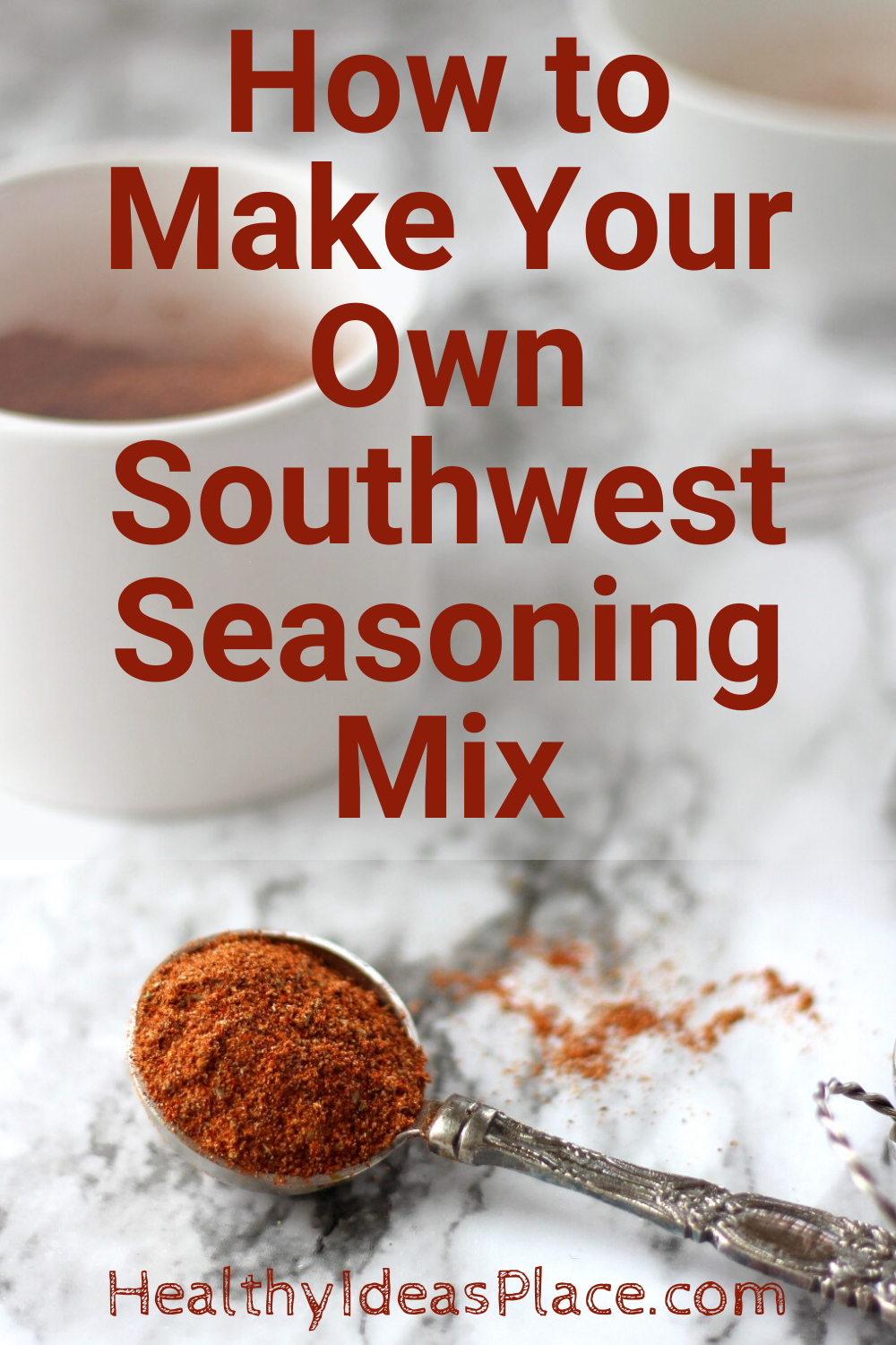 Tablespoon of seasoning mix on marble background