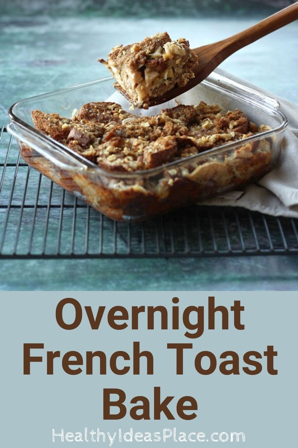 Breakfast casserole of french toast in clear baking dish