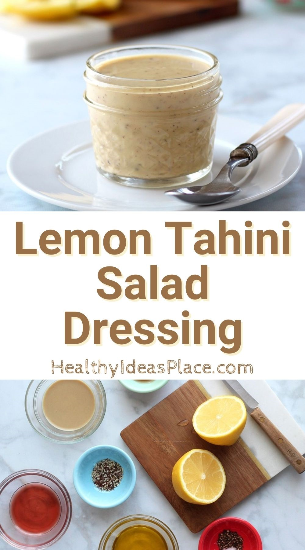 Collage picture of salad dressing and its ingredients